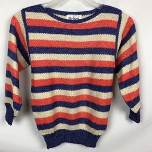 VINTAGE 80'S STRIPED KNIT SWEATER TOP BLOUSE SMALL